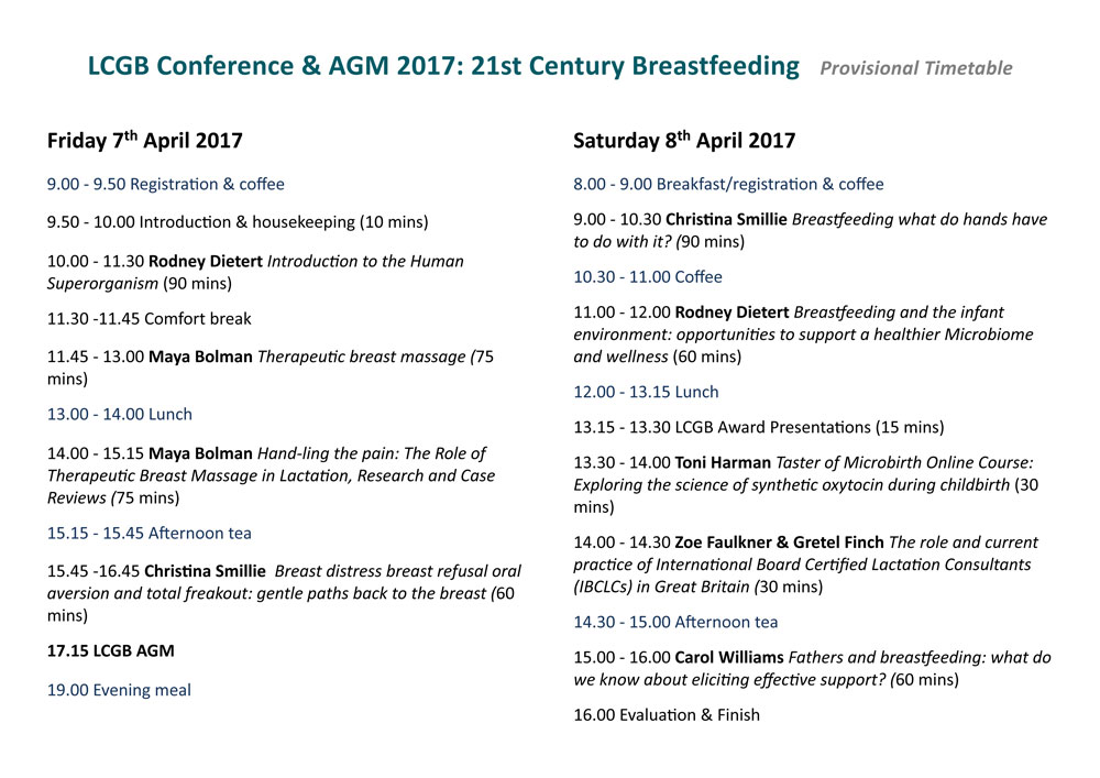LCGB Conference and AGM provisional timetable